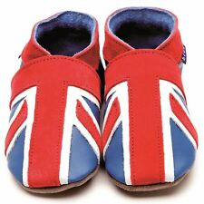 Inch Blue Girls Boys Luxury Leather Soft Sole Pram Shoes - Union Jack Blue Coral