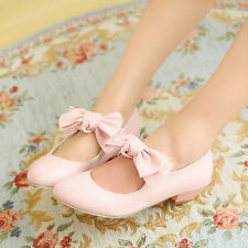 Sweet Womens Girls Mary Janes Nurse Bownot Low Heels Causal Shoes Free Shipping