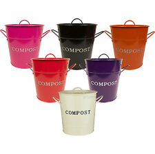 Colour Galvanised Steel Compost Caddy Kitchen Food Waste Recycle Bin Pail Bucket
