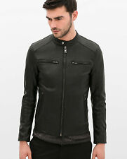 ZARA MAN PERFORATED FAUX LEATHER JACKET S-XL  Ref. 3548/350