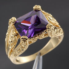 Size 9-11 Deluxe Jewelery Mens Purple Amethyst 18K Yellow Gold Filled Claw Ring
