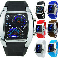 MENS POPULAR FABULOUS RPM TURBO BLUE FLASH LED SPORTS CAR METER DIAL WATCH