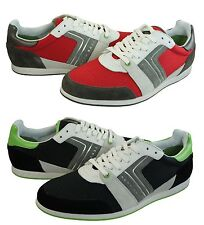 Hugo Boss Mens Faster Road Dark Red Or Black Lace-Up Casual Sneaker Shoes Kicks