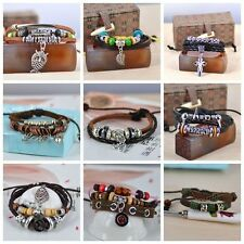 HOT!  Vintage,silver tone and mix color wood beads,charm brown leather bracelets