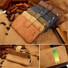 Cowhide Split Leather Flip Stand Wallet Case Cover For Apple Oneplus Samsung
