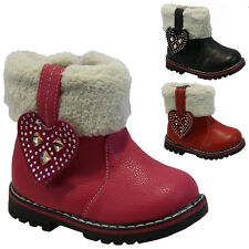 **GIRLS WINTER ZIP BOOTS BABIES PARTY TODDLERS WARM FUR ANKLE INFANTS SHOES SIZE