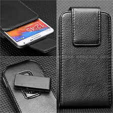 BLACK LEATHER VERITCAL 360° ROTATING BELT CLIP HOLSTER CASE POUCH FOR CELL PHONE