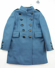 BURBERRY Girls Blue Military Wool Coat (rrp £395) with Nova Check Lining ~ Age 3
