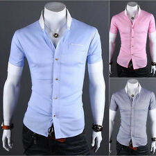 Luxury  Mens Casual Slim fit Stylish short sleeve Dress Shirt Casual Shirts LCJ