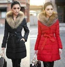 Women's Long down cotton trench coat double Breasted padded jacket belt fur