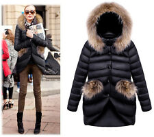 Fashion Women's Coat Down thin Long Parka Jacket WARM WINTER FUR Collar Hooded