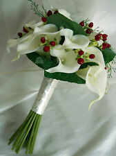 Brides posy bouquet  Ivory Calla lily and red berries Winter Wedding/Xmas Bride
