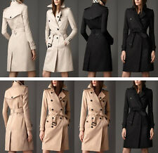 Women's Trench Coats Double-Breasted Bodycon Jacket Outdoor Knee Length S M L XL