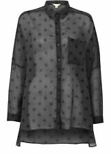 YUMI LADIES YN401 SPOTS AND DOTS BLOUSE GREY RRP £35.00 VAR-SIZES