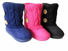Brand New Black Infant Toddler Girls' Cute Winter Buttons Fur Boots Sz 5-13