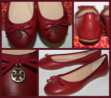 NWB Auth TORY BURCH Chelsea Ballet Shoes Burgundy Leather Flats Size 10