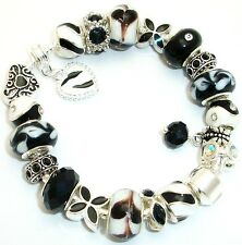 European Charm Bracelet Black & White Murano Glass Beads Rhinestones Gift Bag
