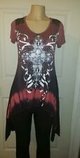 VOCAL CLOTHING PINK/BLACK RHINESTONE SHORT SLEEVE TUNIC/TOP NEW WITHOUT TAG