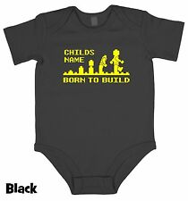 BORN TO BUILD evolution lego personalised baby grow birth gift present boy girl