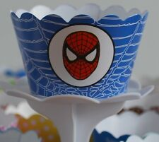 "12 Boys Bday Party ""SPIDERMAN"" Cupcake Wrappers - WORLDWIDE FREE SHIPPING"