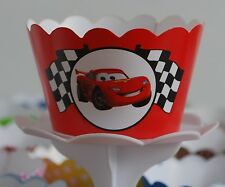 "12 kids Bday Party ""CARS"" Cupcake Wrappers - WORLDWIDE FREE SHIPPING"