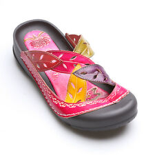 Handpainted Leather Slip-On Rock Sandals - Pink