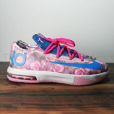 NIKE KD VI GS GIRLS AUNT PEARL THINK PINK BREAST CANCER AWARENESS KAY YOW SHOES