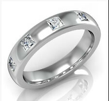 BM05- SOLID 9K or 18K Gold 5-stone Natural Diamond Eternity Wedding Ring yr size