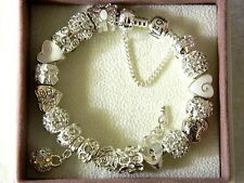 AUTHENTIC PANDORA BRACELET WITH CHARMS SUMMER LOVE AND HEARTS