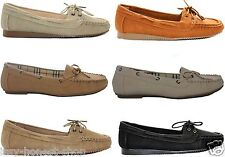 NEW WOMENS LOOKING LEATHER SLIP ON LACE UP DECK MOCCASINS LOAFERS SHOES SIZE 3-7