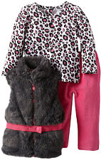 Young Hearts Little Girls 3 Piece Faux Fur Vest Leopard Top Pink Stretch Pants