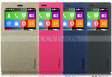 For Nokia X2 Quick View Windows Matte Slim Leather Case Flip Cover Best Quality