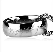 HI-Q COOL LOTR All Unisex Silvery Titanium Ring Necklace Chain 50cm Long Gift