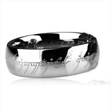 Size 7-13 COOL HI-Q Mens LOTR Silvery Titanium Band Wedding Ring Width 8mm Gift