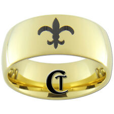 9mm Gold Dome Tungsten Carbide Lasered Fleur De Lis Design Available Sizes 4-17