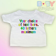 Your Choice of Words - Personalised Embroidered Baby T-Shirt - White Baby Gift