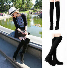 Women's Shoes Sexy Stretch Low Heel Over The Knee Thigh High Boots Shoes 4 Size