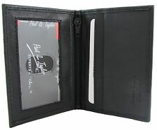 New Paul & Taylor Mens Leather Front Pocket Inside Zippered Compartment Wallet