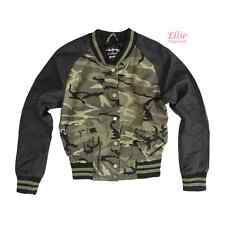 Women's Camouflage Military Varsity Jacket with faux leather Sleeves (S/M/L)