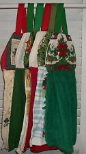 Poinsettia Mistletoe Holly Berries Apples Holdiay Hanging Kitchen Towel HCF&D