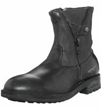 Replay Cottage Black Leather Mens Side Zip Mid Ankle Leather Army Shoes Boots