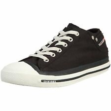 Diesel Exposure Low Black White Mens Canvas New Trainers Shoes Boots
