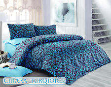 ThreeL Chiara Turquoise 100% Cotton Bed Linen Duvet Cover Bedding Set