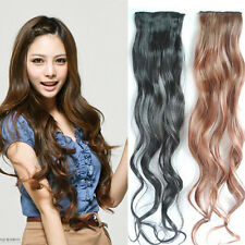 10pcs Ladies Long Curly Wavy Two Clips Thin Hairpiece Clip in Hair Extensions