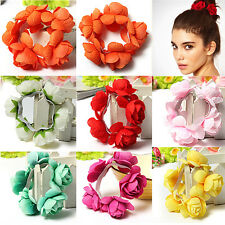 Bride Women Flower Bun Garland Headwear Hair Top Elastic Scrunchie Band Bracelet
