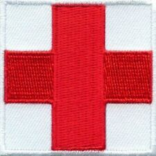 "Red Cross Medic First Aid IFAK on White Patch Small 2"" X 2"" Sew On or w/ Velcro!"