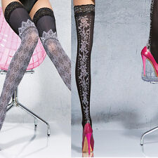 40 den Sexy Stay Up Thigh High Patterned Stockings Lace Top Fiore size S M L