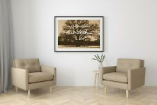 Brown Black Tan Tree Deer Field Home Decor Bedroom Matted Artwork Picture A658