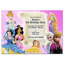 i039 Princesses Personalised Invitations or Thank you cards; Any age, any text