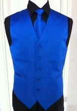 MENS TUXEDO/SUIT TONE ON TONE ROYAL BLUE VEST, TIE & HANKY ST BY VESUVIO NAPOLI